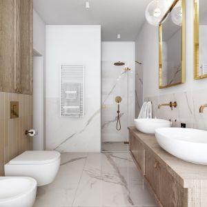 W łazience znajduje się wanna, prysznic ukryty we wnęce oraz dwie umywalki usytuowane na drewnianej szafce. Projekt: Marta Ogrodowczyk, Marta Piórkowska. Wizualizacja: Elżbieta Paćkowska