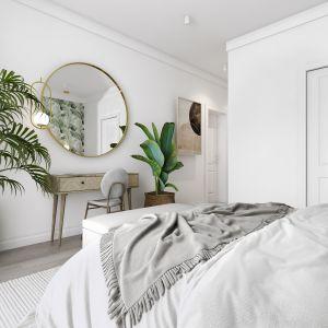 W sypialni odnajdziemy meble wykonane z drewna mango, które idealnie wpisują się w projekt oraz pasują do rattanowego łóżka z zagłówkiem. Projekt: Marta Ogrodowczyk, Marta Piórkowska. Wizualizacja: Elżbieta Paćkowska