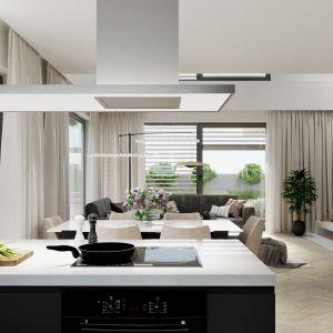 W kuchni zaplanowano funkcjonalny półwysep. Nazwa projektu: HomeKONCEPT 64. Projekt wykonano w Pracowni HomeKONCEPT