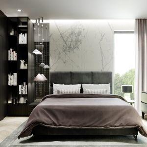 Propozycja aranżacji sypialni. Nazwa projektu: HomeKONCEPT 64. Projekt wykonano w Pracowni HomeKONCEPT