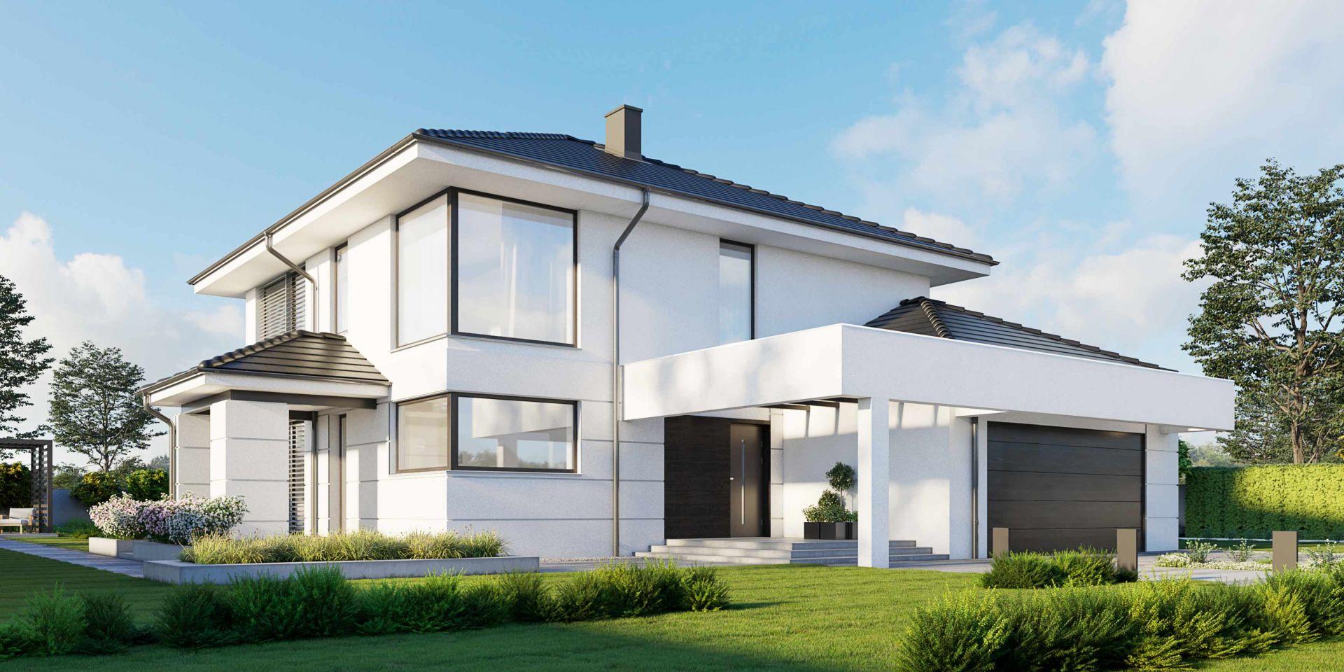 Dwie pełne kondygnacje budynku ułatwią aranżację pomieszczeń na piętrze bez ograniczeń wynikających ze skosów na poddaszu. Nazwa projektu: HomeKONCEPT 64. Projekt wykonano w Pracowni HomeKONCEPT