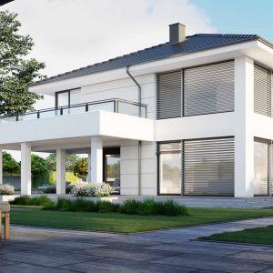 Dom jest energooszczędny z bardzo dobrze docieplonymi ścianami, stropem i podłogą. Nazwa projektu: HomeKONCEPT 64. Projekt wykonano w Pracowni HomeKONCEPT
