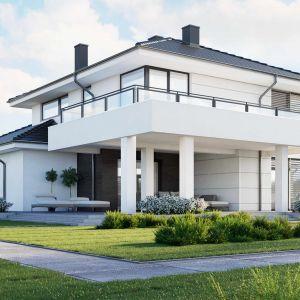 Dom doskonale wpisuje się w stylistykę współczesnych miast i miasteczek. Nazwa projektu: HomeKONCEPT 64. Projekt wykonano w Pracowni HomeKONCEPT