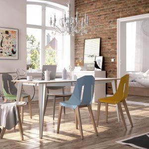 Krzesła Diago, dostępne w różnych kolorach, siedzisko z blachy aluminiowej - 1265 zł, stół jadalniany Maciek - od 3360 zł. Producent: Tabanda