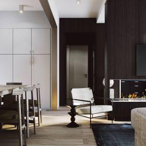 Mieszkanie jest przygotowane dla pary, posiada salon z niewielką kuchnią, jadalnię oraz sypialnię i łazienkę. Projekt i zdjęcia ZUP-a