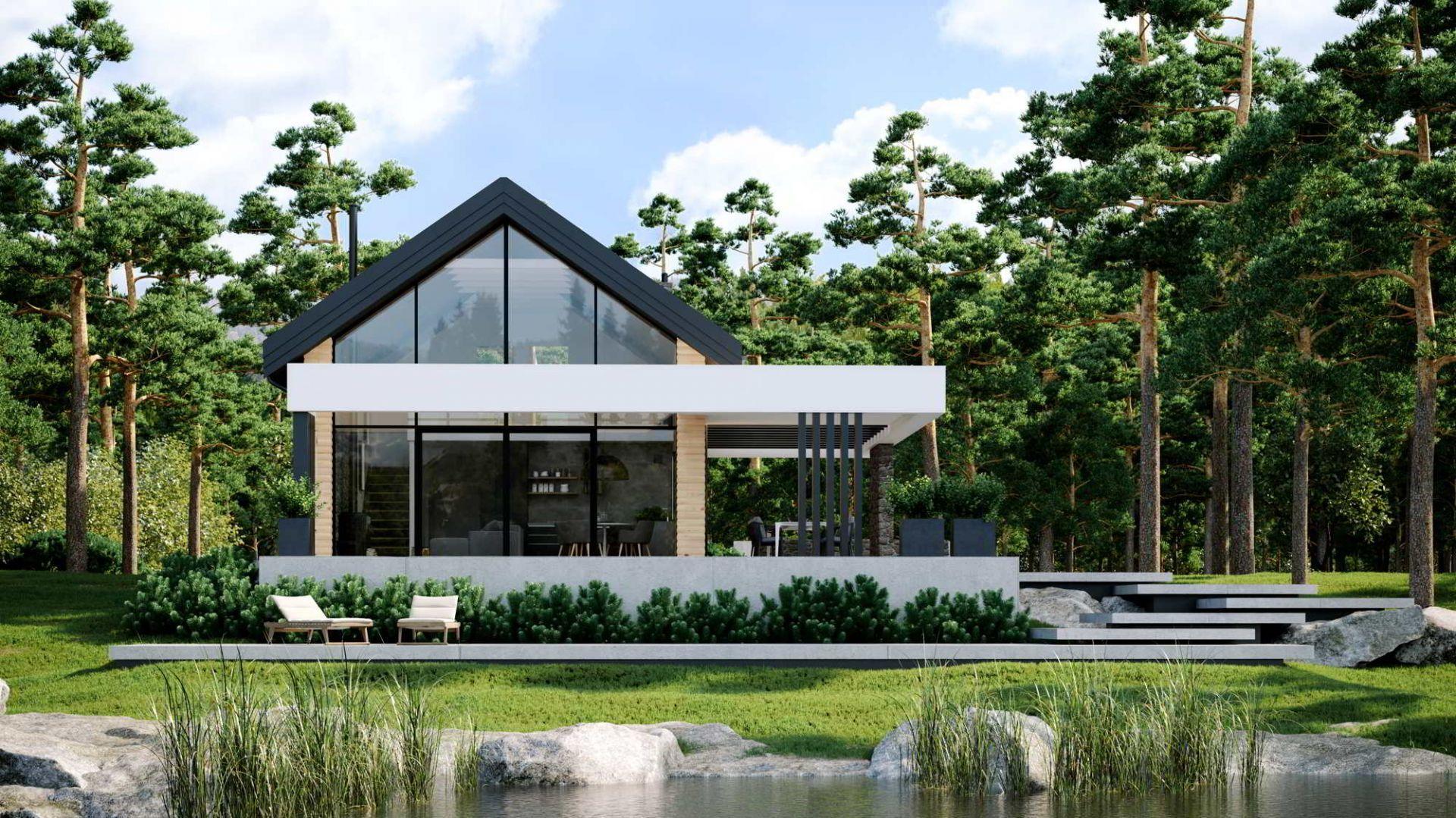 Monochromatyczna kolorystyka elewacji i okien w nowoczesnym budownictwie operuje zazwyczaj na bieli i odcieniach szarości. Dom HomeKONCEPT 66. Projekt i zdjęcia: HomeKONCEPT