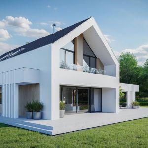 Kiedy okna kontrastują kolorystycznie z elewacją, zazwyczaj mają kolor podobny do koloru zadaszenia domu, drzwi, bramy garażowej, ogrodzenia posesji, a nawet elementów małej architektury w ogrodzie.  Dom HomeKONCEPT 77. Projekt i zdjęcia: HomeKONCEPT