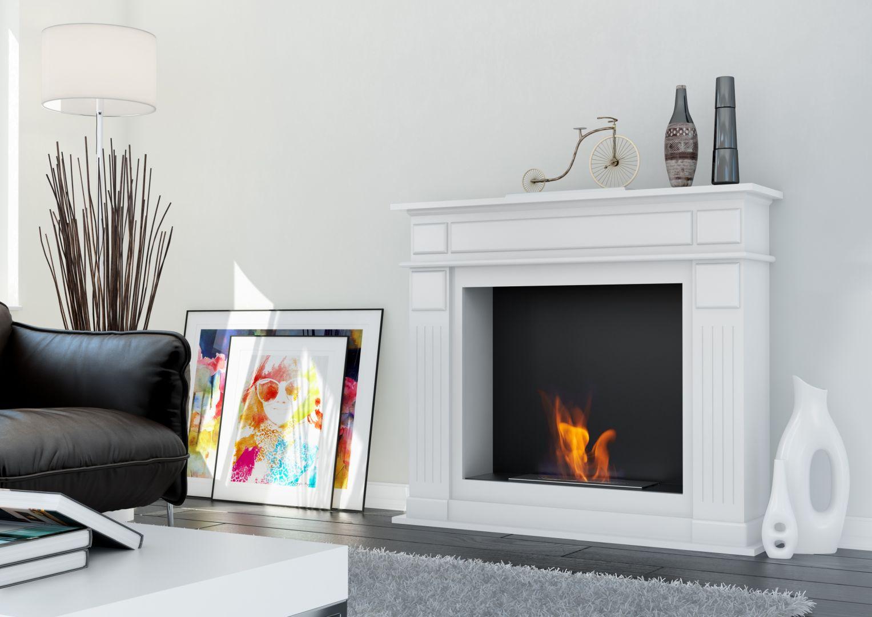 Biała, minimalistyczna zabudowa biokominków np. November czy February, dostępnych w ofercie marki Kratki, świetnie sprawdzi się we wnętrzach inspirowanym daleką Północą.