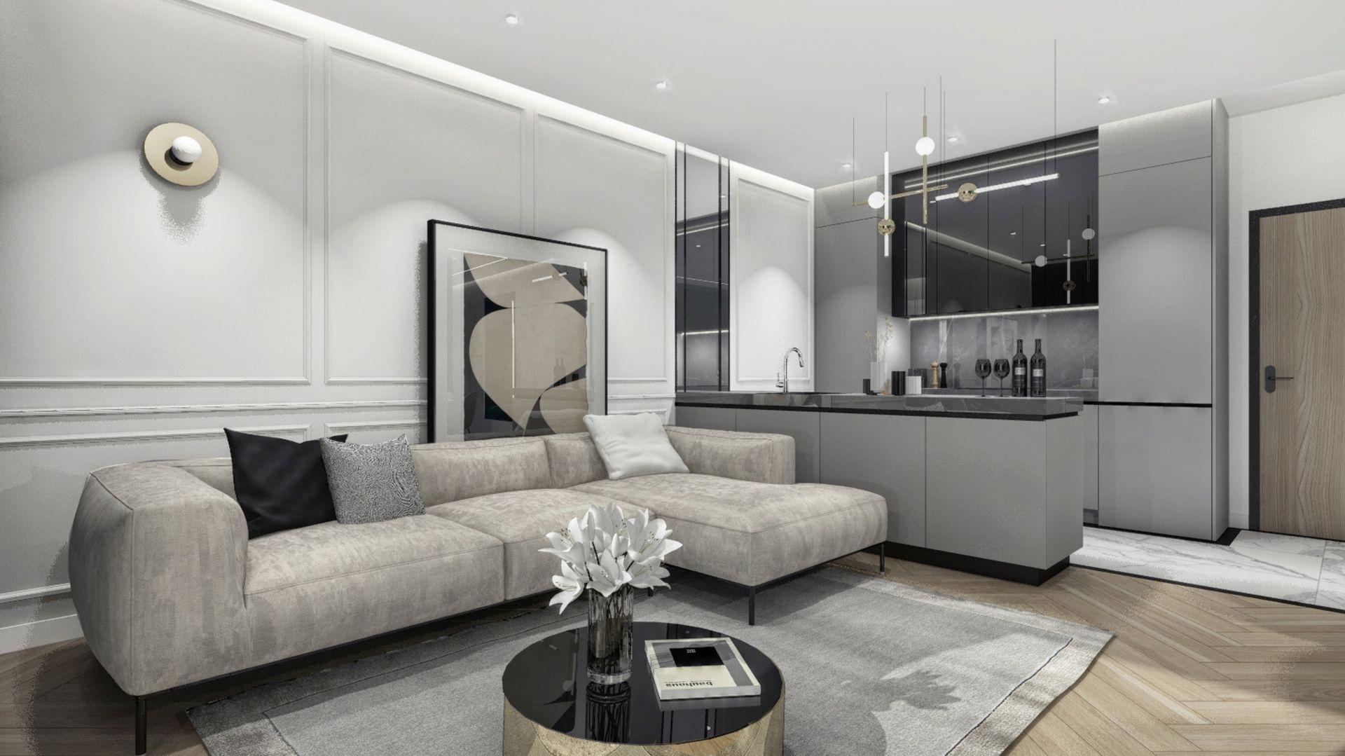 Duży metraż daje możliwość ciekawej aranżacji łazienki, kuchni, salonu czy sypialni, a ponadto pozwala na zaprojektowanie np. przestronnej garderoby czy własnego biura. Fot. Mieszkanie Żoliborz MOOVIN