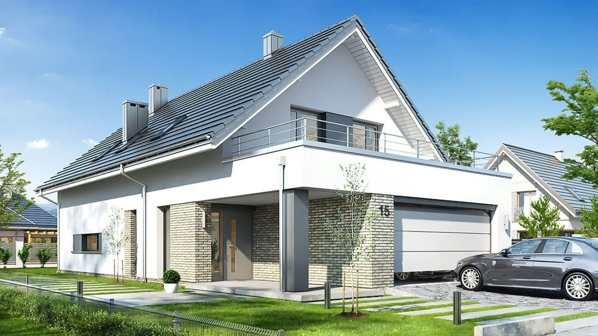 Front domu ozdabia duży podcień wejściowy, z reprezentacyjnymi drzwiami. Projekt: arch. Michał Gąsiorowski. Fot. MG Projekt