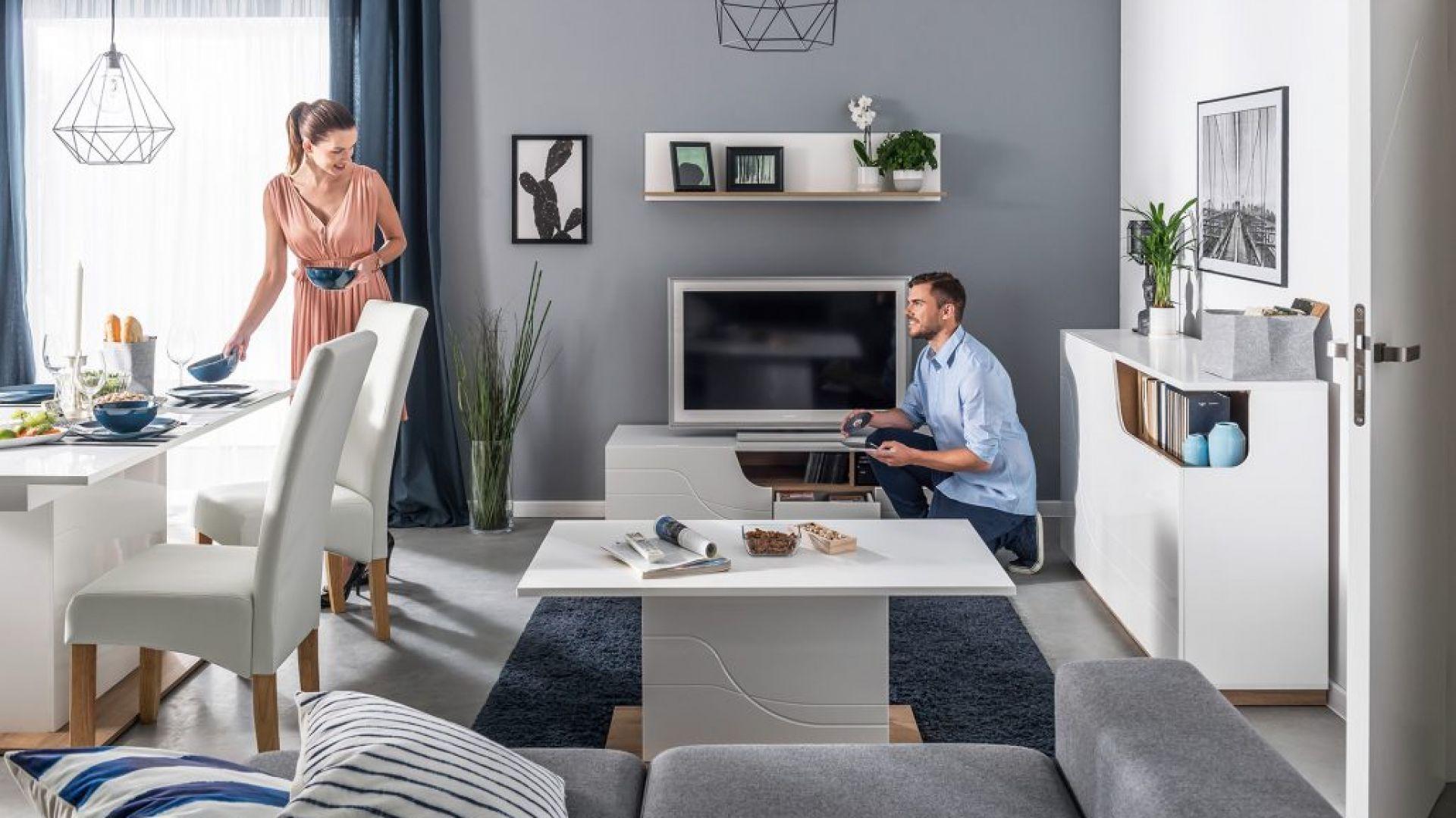 Podstawowym i najważniejszym elementem domowej strefy rozrywki jest szafka RTV. Przyda się w każdy salonie, nawet wówczas, gdy telewizor wisi na ścianie. Na zdjęciu: szafka RTV z kolekcji Wave 2, cena ok. 559 zł. Fot. Dignet Lenart