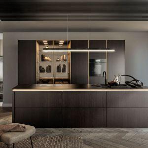 Ciemne drewno, złote detale i całkowicie zamknięta zabudowa kuchenna całkowicie zmieniają wizerunek przestrzeni do gotowania. Fot. SieMatic