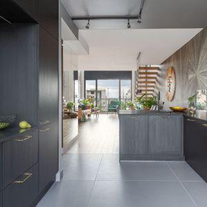 Jedynym ozdobnikiem w kuchni  jest w niej subtelna faktura egzotycznego drewna zastosowana w matowych frontach mebli oraz delikatne, złote uchwyty. Projekt: Decoroom. Fot. Marta Behling, Pion Poziom
