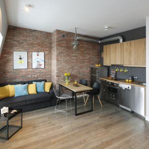 Ścianę za kanapą zdobi cegła w ciemnym kolorze, która doskonale pasuje do nowoczesnej aranżacji salonu. Projekt: Katarzyna Moraczewska. Fot. Bartosz Jarosz