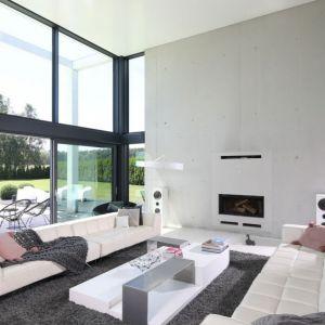 Duży, przestronny salon jest nowoczesny i otwarty. Projekt: Hanna i Seweryn Nogalscy. Fot. Bartosz Jarosz