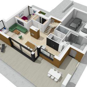 Rzut dom w 3D: widok parteru od strony tarasu. Projekt: pracownia Archipelag