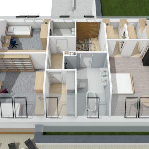 Rzut dom w 3D: widok na poddasze. Projekt: pracownia Archipelag