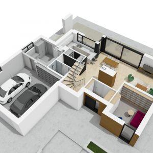 Rzut dom w 3D: widok parteru od strony wejścia. Projekt: pracownia Archipelag