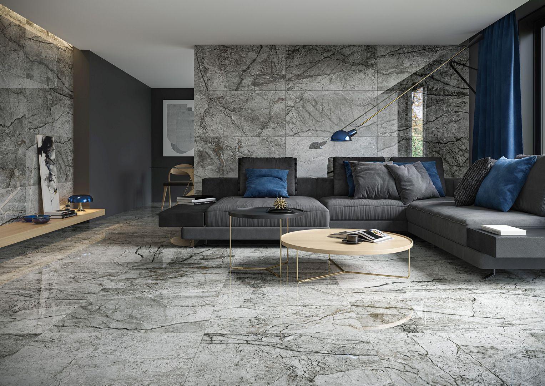 Inspirowane naturalnym rysunkiem kamienia płytki Essential Grey marki Opoczno.