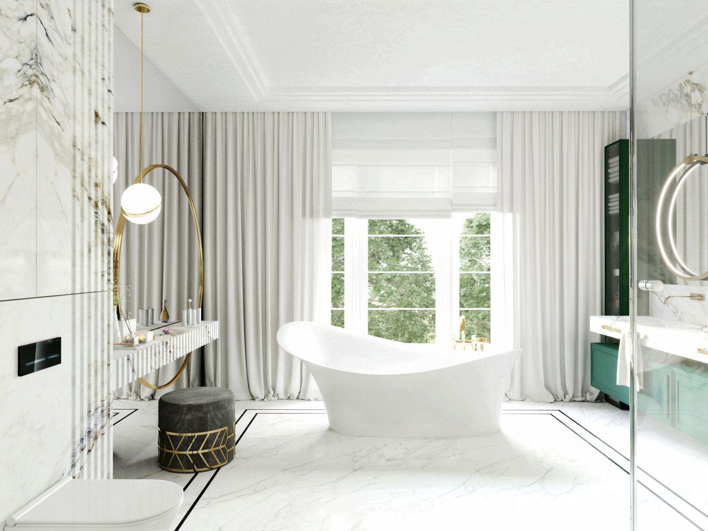 Elegancki charakter łazienki podkreśla stylowa wanna. Projekt Tissu Architecture