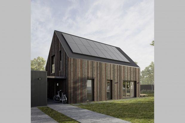 Ten prosty, niedrogi i nowoczesny dom został zaprojektowany dla pary z dwójką dzieci. Na niewielkim metrażu (120 m2) rozplanowane są wszystkie pomieszczenia potrzebne do wygodnego życia.