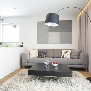Nowoczesna sofa z głębokimi siedziskami zapewnia wygodę. Projekt Katarzyna Uszok. Fot. Bartosz Jarosz
