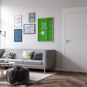 Biały kolor powierzchni drzwi Vector z kolekcji Premium E to doskonała propozycja dla tych, którzy mają mały salon.Fot. Porta KMI Poland