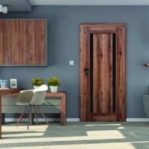 Kolekcja drzwi Mona to nowoczesne projekty z modnymi akcentami czerni. Drzwi zbudowane są z ramiaka drewnianego obłożonego dwiema gładkimi płytami HDF pokrytymi powierzchnią Lamistone CPL. Fot. Pol-Skone