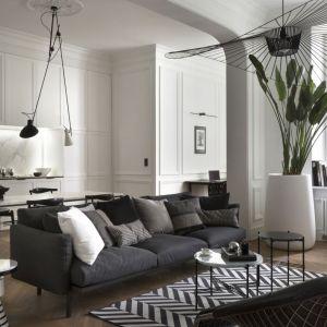 Białe ściany z listwami dekoracyjnymi, które tworzą boazerię oraz sztukateria, perfekcyjnie współgrają z obrazami w czarnych ramach oraz nietuzinkowym oświetleniem w postaci czarnych niewielkich reflektorów na długich linach. Projekt Goszczdesign. Fot. Piotr Mastalerz