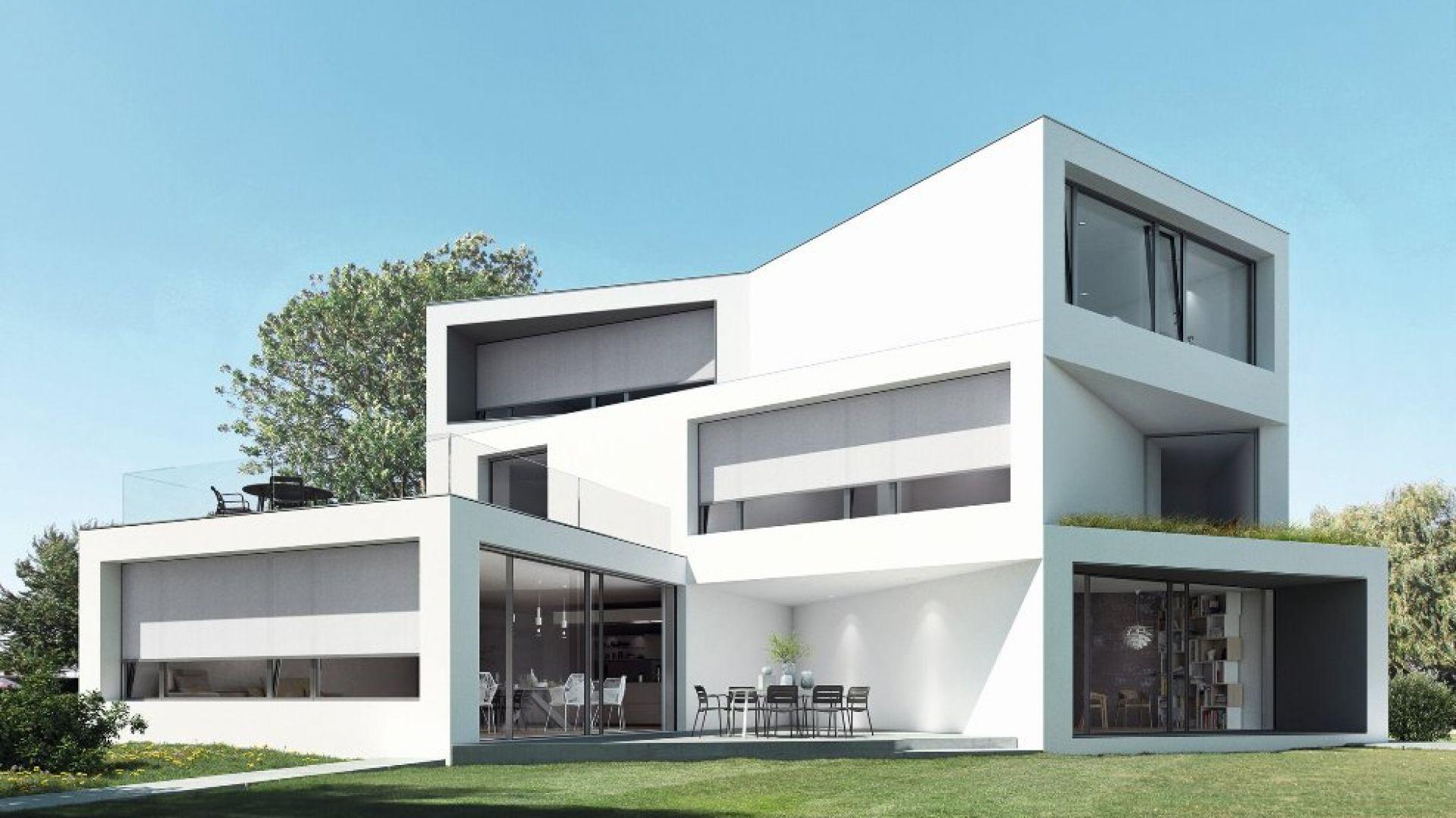 Podstawą do zapewnienia komfortowego mikroklimatu w budynku jest zapobieganie przegrzewaniu się pomieszczeń, poprzez zastosowanie skutecznej ochrony przeciwsłonecznej, zwłaszcza jeśli elewacja jest mocno przeszklona. Fot. Schüco