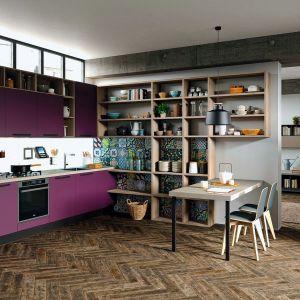 Meble Faro wyróżniają fronty w mocnym, fioletowym kolorze. Tradycyjną zabudowę uzupełnia wysoki regał z otwartymi półkami. Dostępne w ofercie firmy Aran Cucine. Fot. Aran Cucine