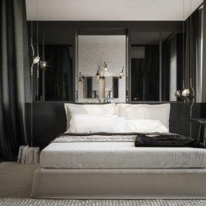 Również sypialnia pozostaje otwarta – łączy się z salonem kąpielowym. Projekt Studio. O. wizualizacje Michał Nowak