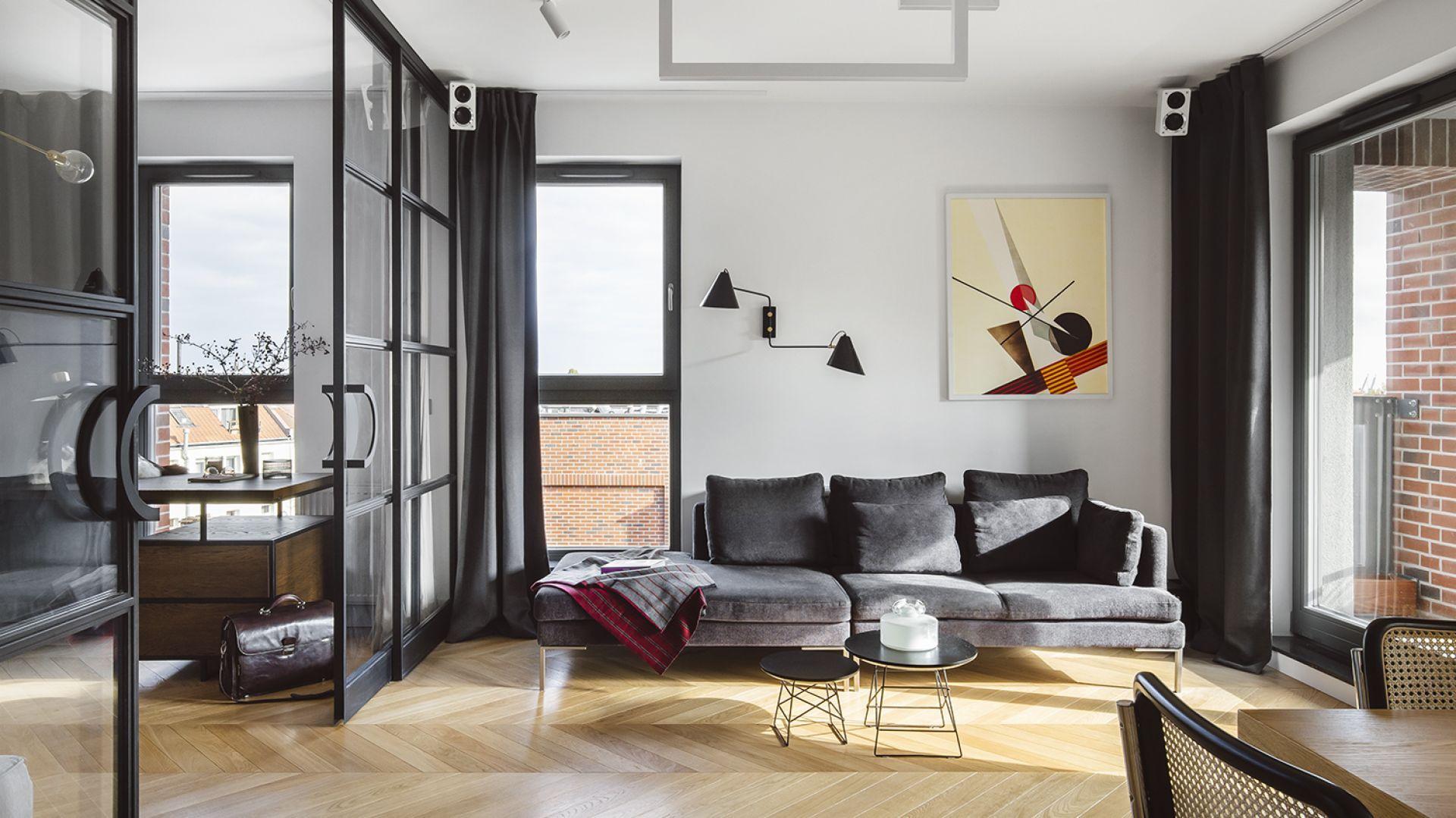 Na tle białej ściany świetnie prezentuje się obraz, jak i dopasowanego niego oświetlenie. Projekt: Magdalena Bielicka, Maria Zrzelska-Pawlak. Fot. Kroniki-Hanna Połczyńska