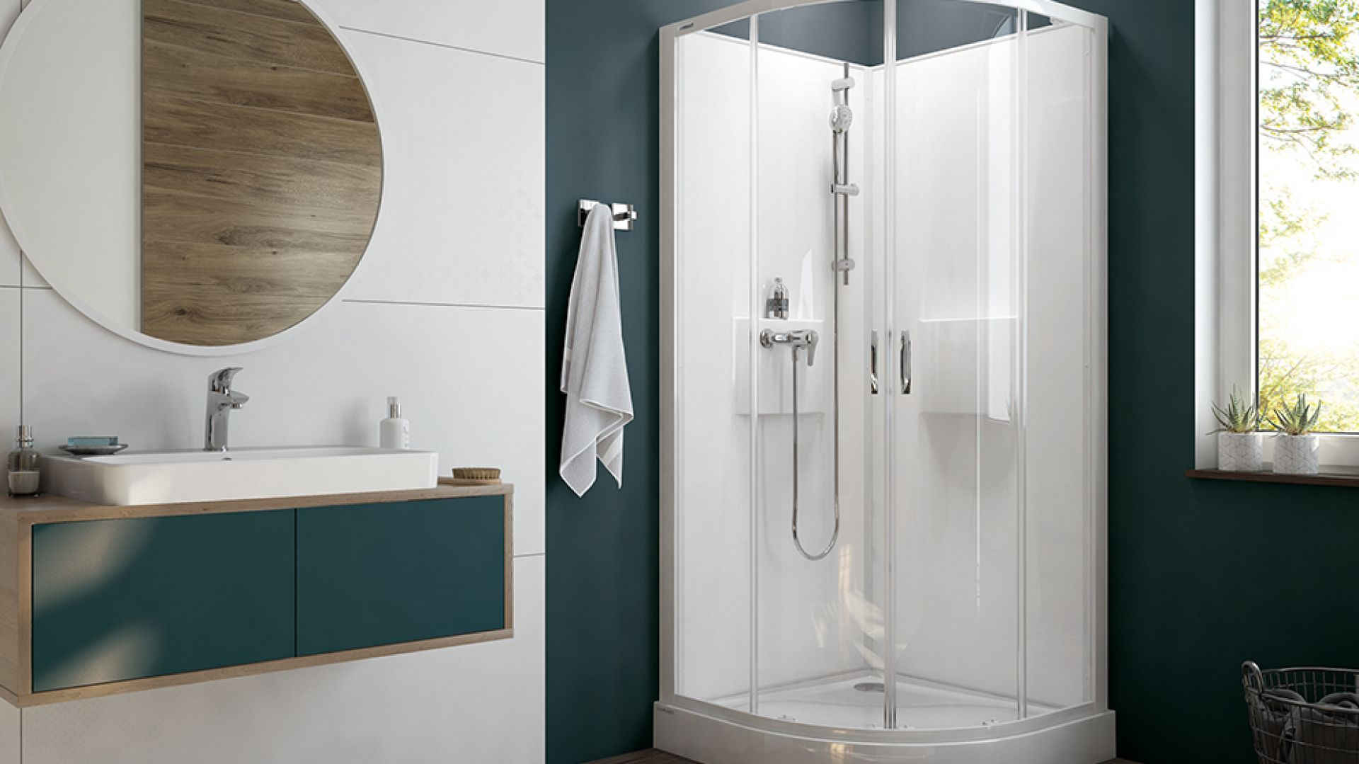 Seria Basic Complete to kompletne kabiny prysznicowe, które dostępne są w zestawach z brodzikiem. Cena: od 3.442 zł. Fot. Sanplast