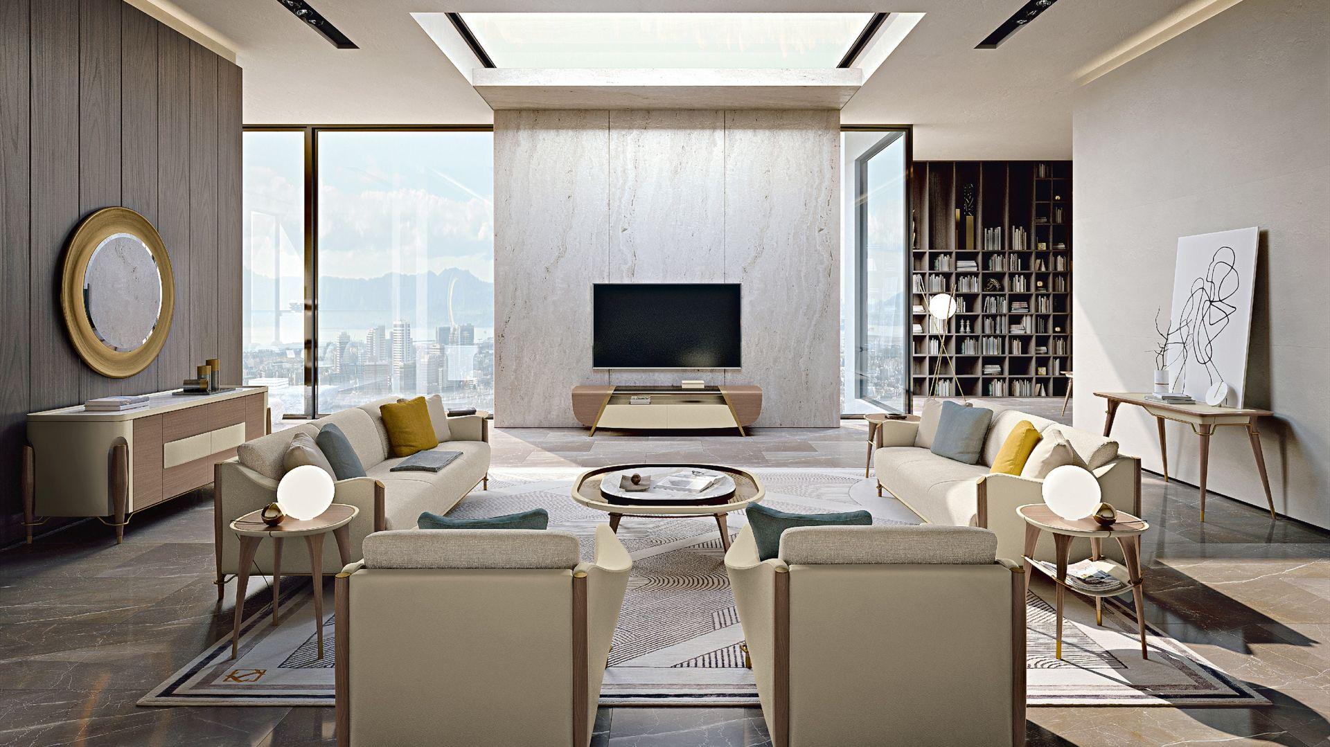 Miękkie, otulające, prawie okrągłe linie określają objętość wszystkich elementów kolekcji. Fot. Turri Meltinglight living room