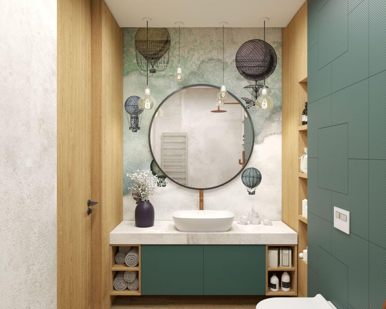 W odróżnieniu od płytek czy kamienia tapeta tworzy w łazience dużą płaszczyznę bez widocznych podziałów. Projekt i zdjęcia: MIKOŁAJSKAstudio