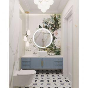Tapeta to stosunkowo niedrogi sposób, aby uczynić łazienkę zupełnie wyjątkową. Projekt i zdjęcia: MIKOŁAJSKAstudio