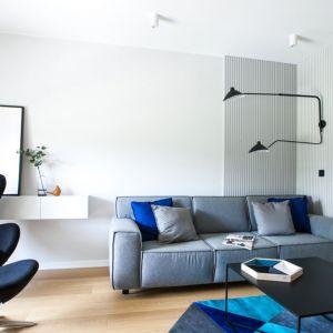 Szarą kanapę ożywiają poduszki w niebieskie kolorze dopasowane do kolorystyki dywanu. Projekt: Sandra Maculewicz. Fot. Łukasz Pepol