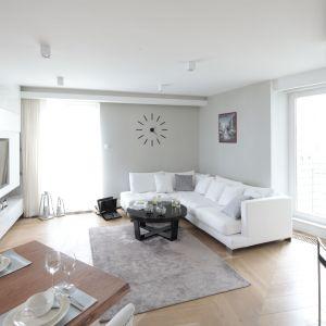 Ściany w szarym, jasny kolorze optycznie powiększyły urządzony nowocześnie salon. Projekt: Agnieszka Zaremba, Magdalena Kostrzewa-Świątek. Fot. Bartosz Jarosz