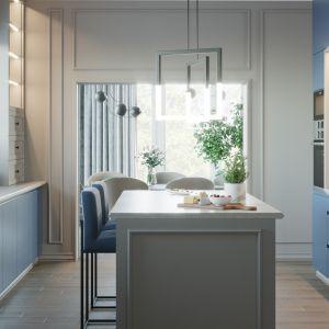 Wysoka zabudowa w kuchni została dodatkowo udekorowana sztukateryjną ramą. Projekt i wizualizacje: Agnieszka Rozmysłowicz, Viann Interior Design