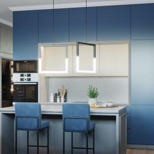 Niebieskie fronty kuchenne to odważne, ale bardzo ciekawe rozwiązanie. Projekt i wizualizacje: Agnieszka Rozmysłowicz, Viann Interior Design