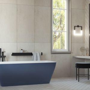 W łazience inwestorów znalazła się niebieska wanna wolnostojąca. Projekt i wizualizacje: Agnieszka Rozmysłowicz, Viann Interior Design