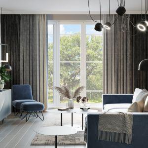 Stonowana kolorystyka salonu nawiązuje do skandynawskiej stylistyki. Projekt i wizualizacje: Agnieszka Rozmysłowicz, Viann Interior Design