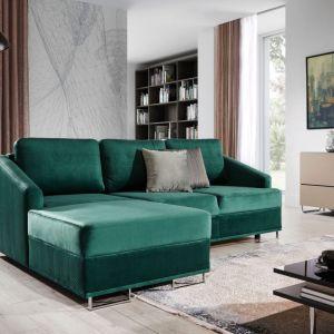 Rozkładany narożnik Buko w pięknym zielony kolorze będzie pasował do każdego wnętrza. Dostępny w ofercie firmy Stagra. Fot. Stagra