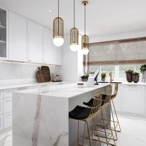 W stylowej kuchni zlewozmywak został zaprojektowany w zabudowie pod oknem. Jego ozdobą jest piękna złota bateria. Projekt Marta Ogrodowczyk, Marta Piórkowska. Wizualizacja  Elżbieta Paćkowska