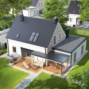 Od frontu dom zdobi pergola akcentująca strefę wejściową, od stronu ogrodu fasadę dekoruje pergola tarasowa. Projekt: Tymon G1, pracownia Archipelag