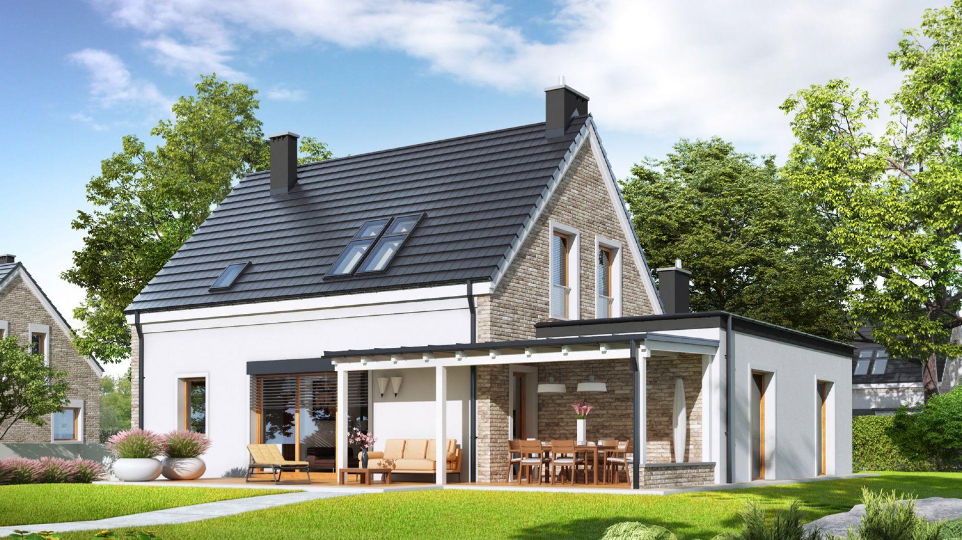 Elegancki charakter domu podkreśla efektowna elewacja z klinkieru, która będzie cieszyć swoim pięknym wyglądem i trwałością przez lata. Projekt: Tymon G1, pracownia Archipelag