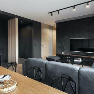 Ścianę za telewizorem wykończono ciemną farbą z ciekawą, subtelną faktura. Projekt: Anna Gostomczyk, pracownia 2form. Fot. Norbert Banaszyk