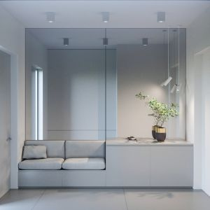 Do wnętrza prowadzi szary korytarz, w którym swoje miejsce znalazły elegancka komoda, dwa siedziska oraz duże lustra, w których odbijają się szare minimalistyczne reflektory zawieszone na suficie. Projekt NABOO STUDIO