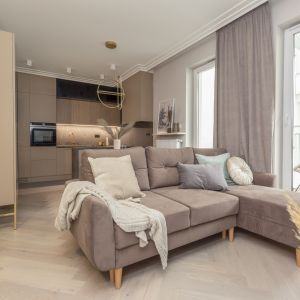 Złoto w dodatkach tego salonu dodaje mu elegancji. Projekt Decoroom Fot. Marta Behling Pion Poziom